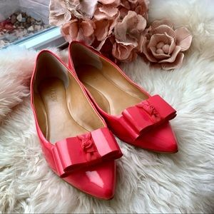 J. Crew Color Block Pointed Bow Pink Orange Flats